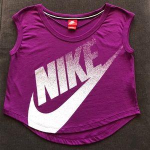 Purple Nike semi crop top